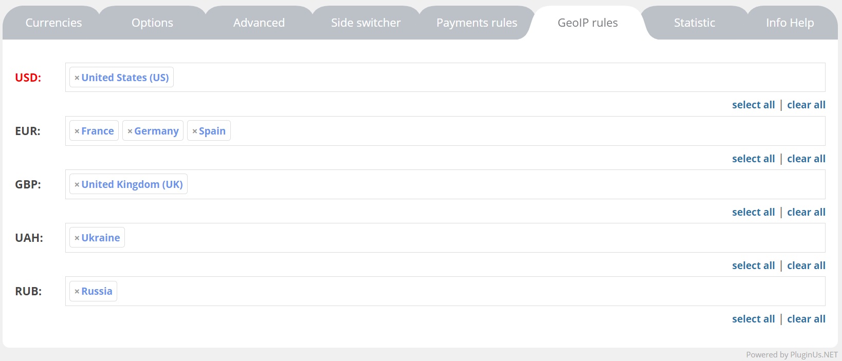 Woocommerce currency switcher here is all simple add countries to the currencies using drop down and that is all for example as on the screen usd selected united states this buycottarizona Images
